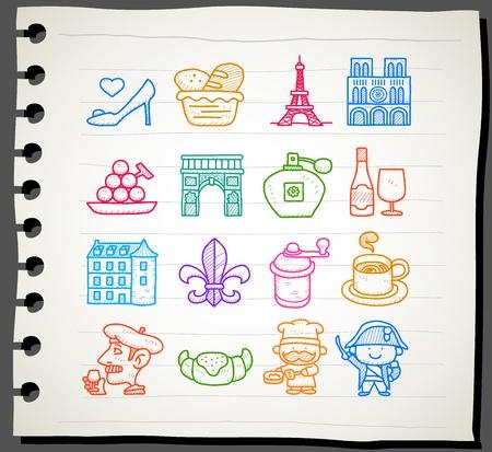 Dibujado a mano francés, Europa, viajes, punto de referencia conjunto de iconos