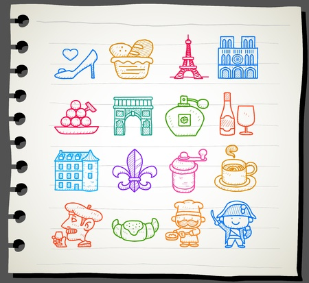 Hand drawn French,Europe,travel,landmark icon set