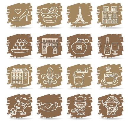 francia: Dibujado a mano franc�s, Europa, viajes, punto de referencia conjunto de iconos Vectores