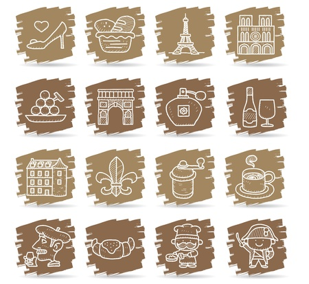 Hand drawn French,Europe,travel,landmark icon set Vector