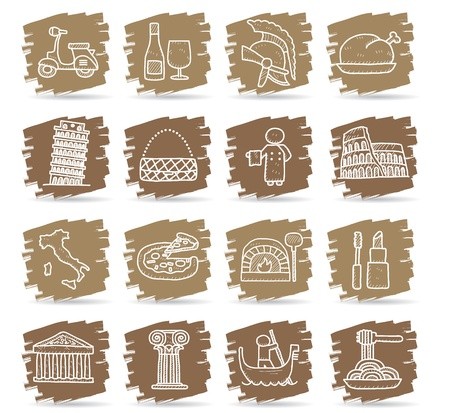 Hand drawn Italy,italian,Europe,travel,landmark icon set  Vector
