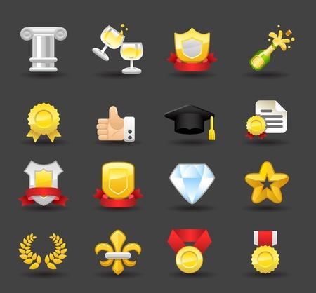 medal ribbon: Vector of award icon set Illustration
