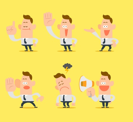 cartoon businessman, office worker in various poses  Vector