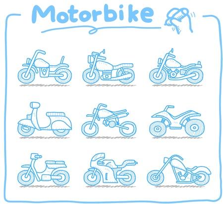모터쇼: 손으로 그린 오토바이, transporration, 오토바이, 아이콘 세트