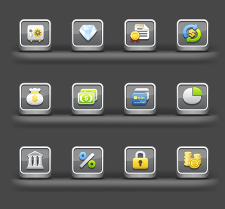 Banking & Finance,Shopping | Mobile devices apps icons Vector