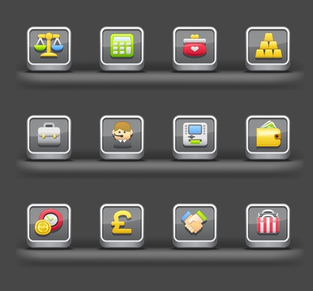 Banking & Finance,Shopping | Mobile devices apps icons Stock Vector - 11980043