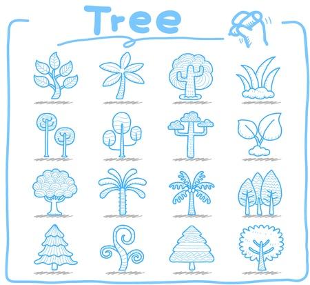 arbol alamo: Dibujar a mano del �rbol icono de conjunto Vectores