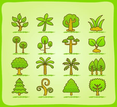 arbol alamo: dibujar a mano �rbol conjunto de iconos Vectores