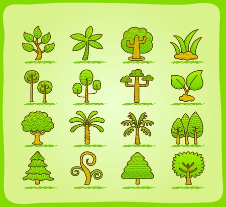 poplar: hand draw tree icon set Illustration
