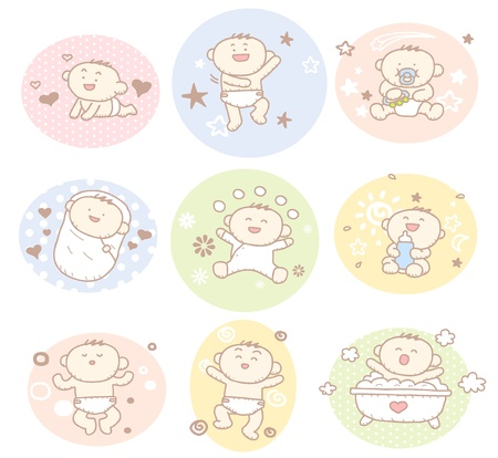 Hand drawn baby boy collection Vector
