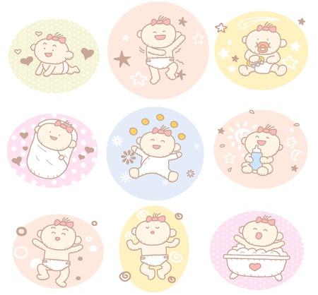 baby biberon: Disegnata a mano collezione bambino, ragazza Vettoriali