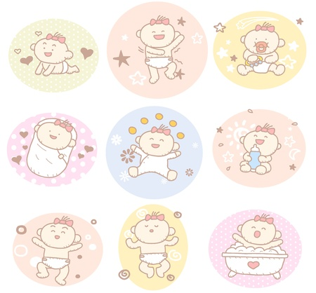 cute baby girls: Hand drawn baby girl collection Illustration
