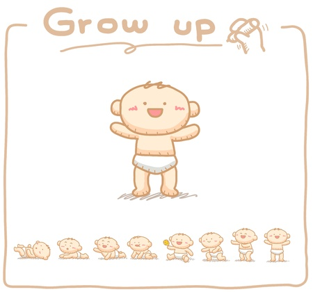 child looking up: Hand drawn Baby grow up with 8 steps. Illustration