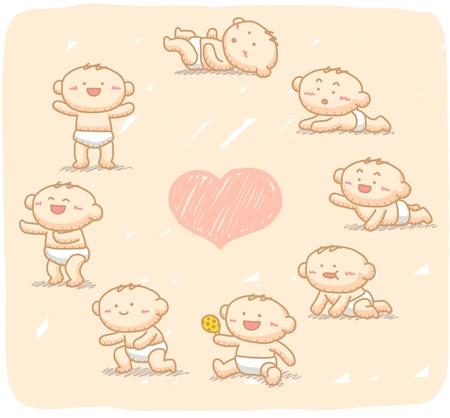 nenes jugando: Dibujado a mano beb� crezca con 8 pasos. Vectores