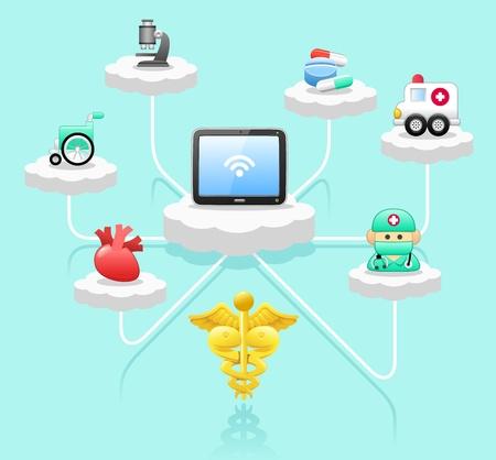 patient: cloud computing, Tablet PC, spoedeisende hulp, medische concept. Stock Illustratie