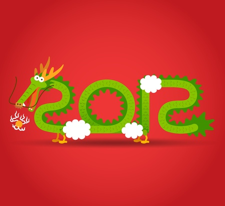 Chinese Dragon and 2012 Vector