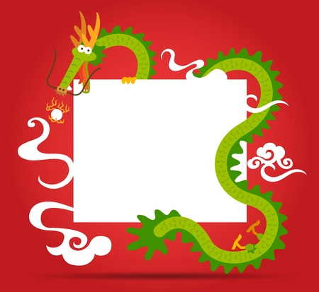 Chinese Dragon and blank card Vector