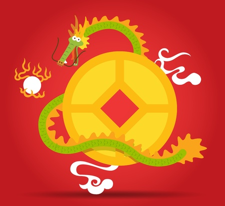 Chinese Dragon flying around golden coin Vector