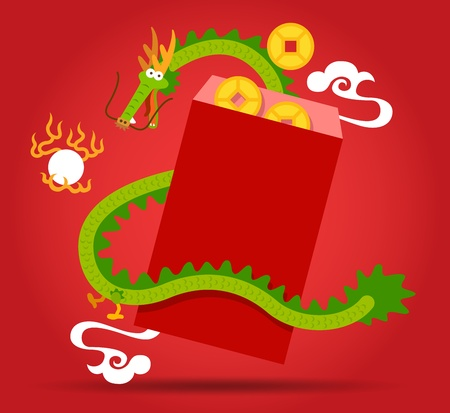 Chinese Dragon and  red pocket Vector