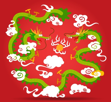 Two  Chinese Dragon flying with fire ball Vector