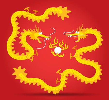 Two Golden Chinese Dragon flying with fire ball Vector