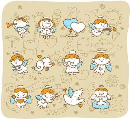 angeles bebe: Dibujado a mano del �ngel conjunto de iconos Vectores