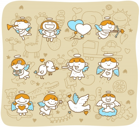 angel girl: Hand drawn Angel icon set Illustration