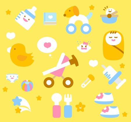 sleeping car: simple baby icon collection