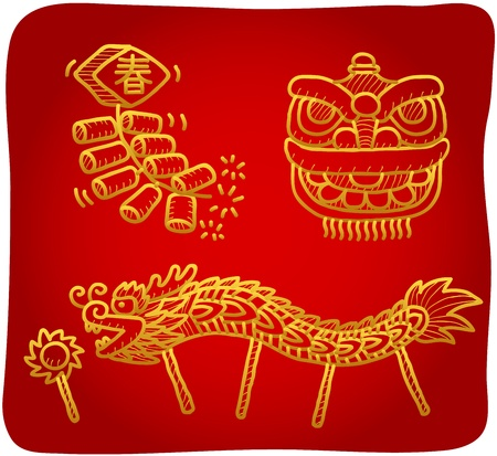 hand drawn Chinese New Year,lion dance,dragon dance Icons  Vector