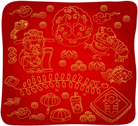 fin de a�o: Iconos dibujados a mano chino del A�o Nuevo Vectores