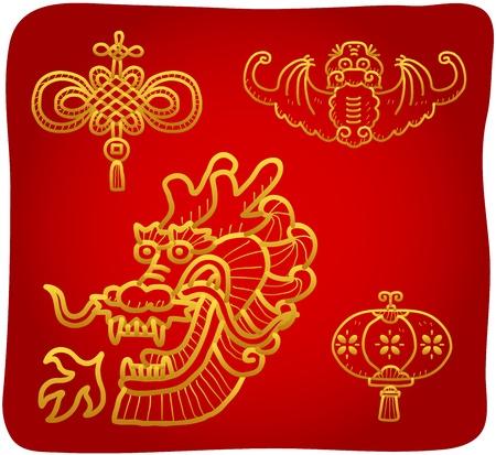 disegnata a mano Capodanno cinese, letto, Icone drago
