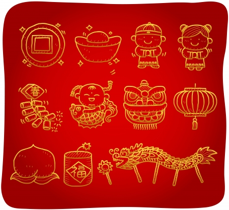 god of wealth chinese new year: hand drawn Chinese New Year Icons