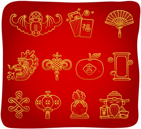 fan dance: hand drawn Chinese New Year Icons