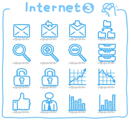 e data: Hand drawn internet,business icon set
