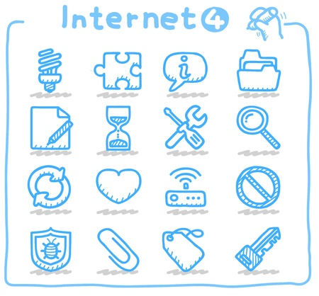 Hand drawn internet,business icon set
