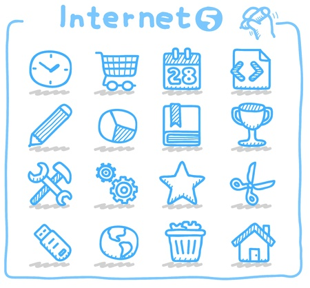 ilustration and painting: Hand drawn internet,business icon set