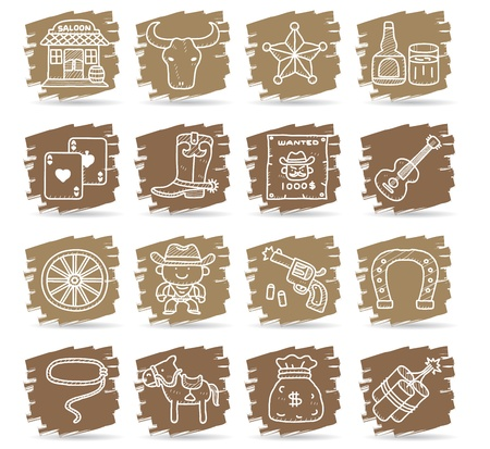 cartoon Hand drawn wild west cowboys icon set  Stock Vector - 11904257