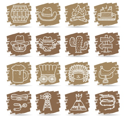texas longhorn cattle: cartoon Hand drawn wild west cowboys icon set