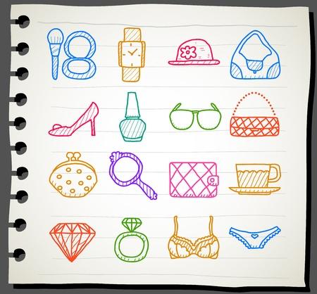 Hand drawn fashion,beauty accessory icon set Stock Vector - 11904246