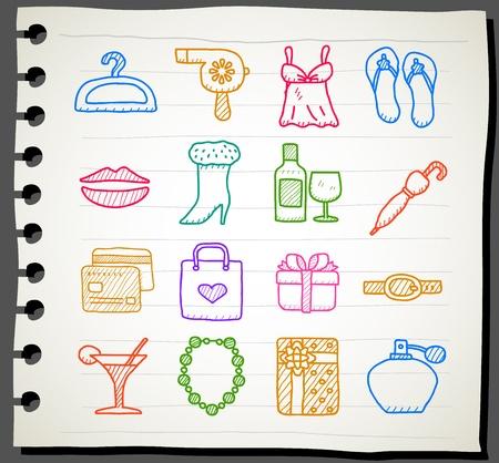 Hand drawn fashion,beauty accessory icon set  Vector