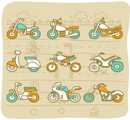 motor race: Getrokken Motor, transport, motor, auto icon set Stock Illustratie