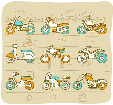 cartoon biker: Hand drawn Motorcycle,transportation,motorbike,car icon set