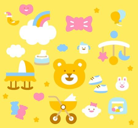 babero: bebé sencilla colección de iconos