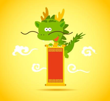 cabeza de dragon: Beb� drag�n chino sonriente y con un rollo Vectores