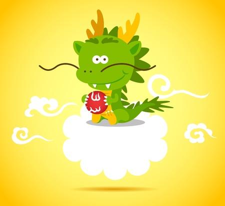dragon chinois: Bébé Dragon chinois souriant et jouant à la balle sur le nuage. Illustration