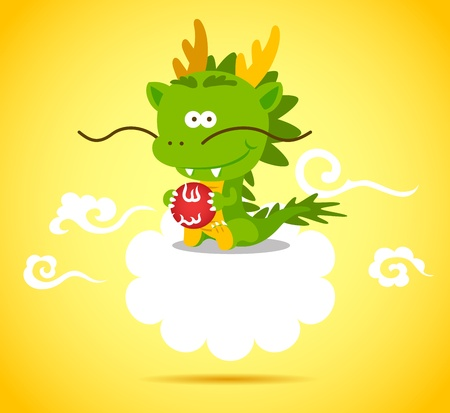 Baby Chinese Dragon smiling and playing ball on the cloud.