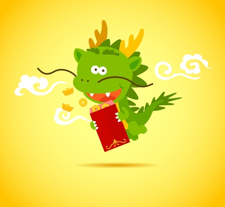 Baby Chinese Dragon smiling and holding a red packet