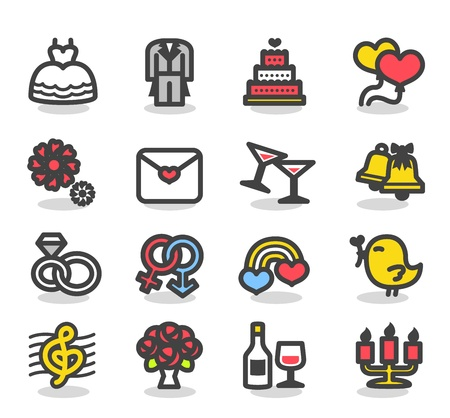 Simple Wedding ,love icon set Vector