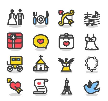 wedding church: Simple Wedding ,love icon set