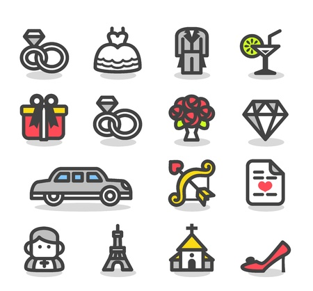 clergyman: Simple Wedding ,love icon set